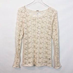 Free People Sheet Lace Thermal Ivory Crochet Top M